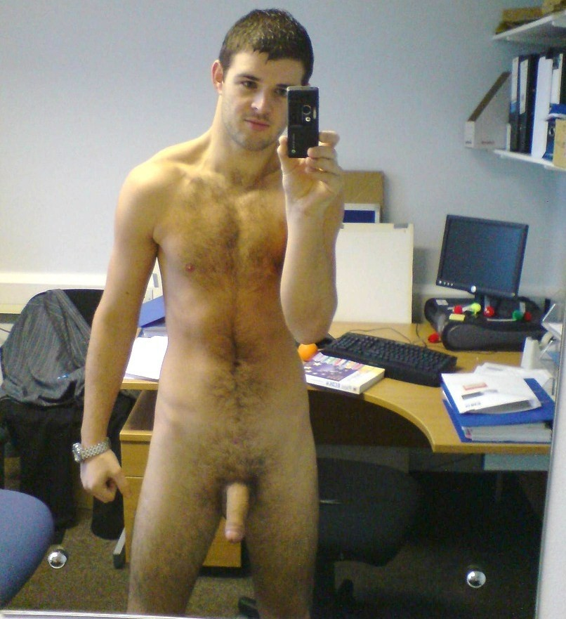 Horny Gay Boy Naked In His Office