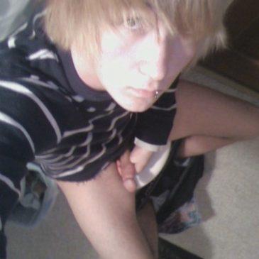 Blonde Boy Masturbate While Sitting On Toilet