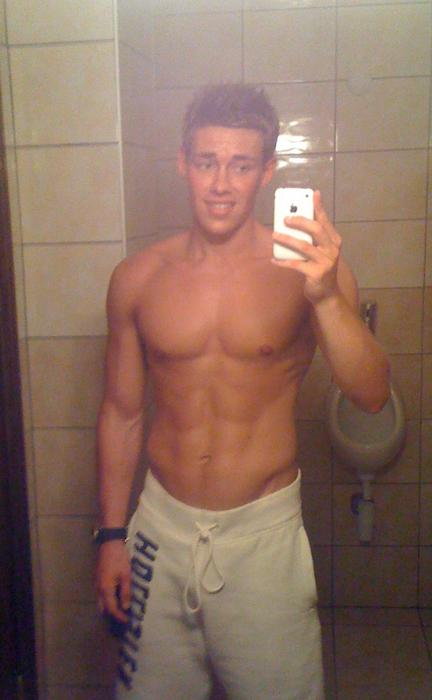 Shirtless Muscle Boy Taking Self Pictures